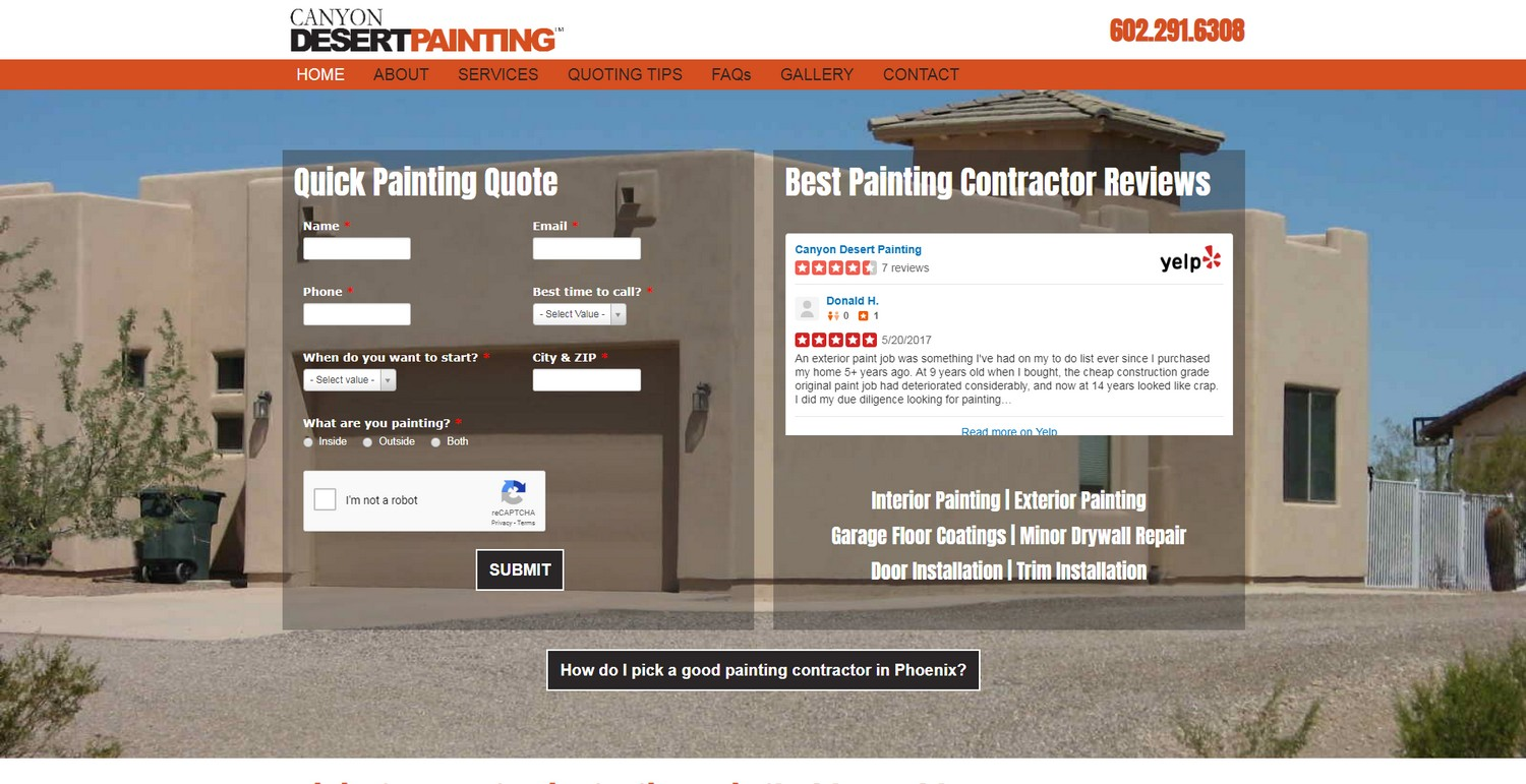Trades website design - construction, plumbing, electrical, HVAC